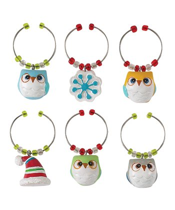 Snowy Owl Wine Charm Set