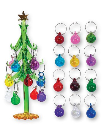 Boston Warehouse Holiday Ornament Wine Charm Tree Set
