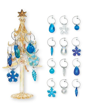 Boston Warehouse Winter Wonderland Wine Charm Tree Set