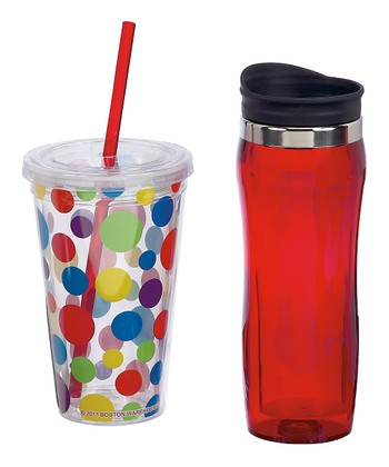 Red & Polka Dot Hot & Cold Tumbler Set