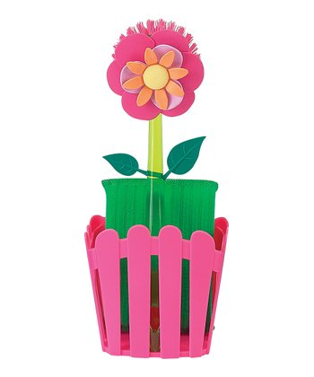 Pink Flower Garden Sponge Caddy Set