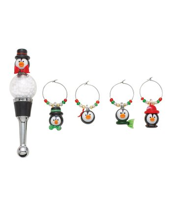 Boston Warehouse Penguin Party Charm & Bottle Stopper Set