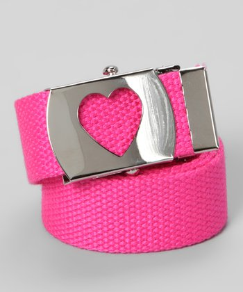 Neon Pink Heart Buckle Belt
