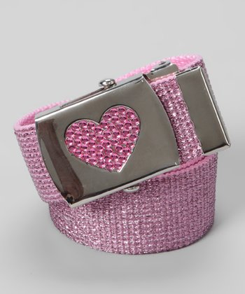 Pink Metallic Rhinestone Heart Buckle Belt