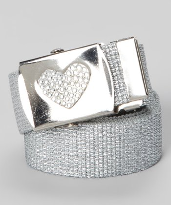 Silver Metallic Rhinestone Heart Buckle Belt