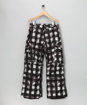 White Buffalo Plaid Bolt Cargo Snow Pants - Boys