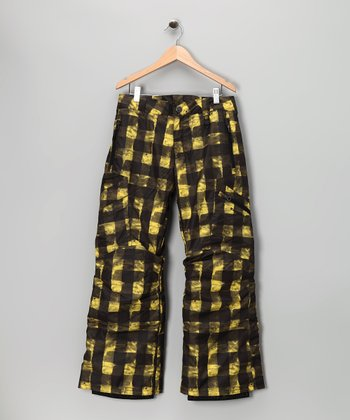 Maize Buffalo Plaid Bolt Cargo Snow Pants - Boys
