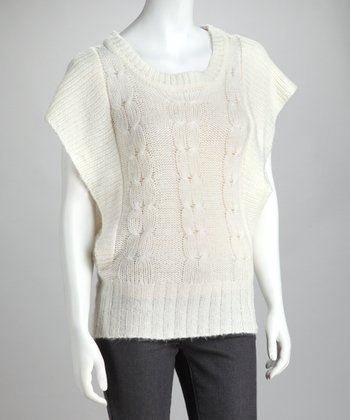 Ivory Cable Knit Cape-Sleeve Top