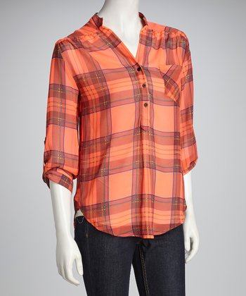 Coral Plaid Button-Up