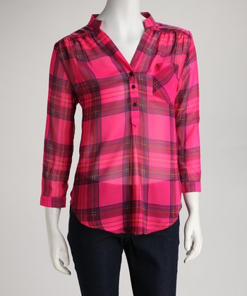 Fuchsia Plaid Button-Up