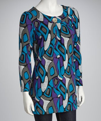 Turquoise & Purple Abstract Button Tunic