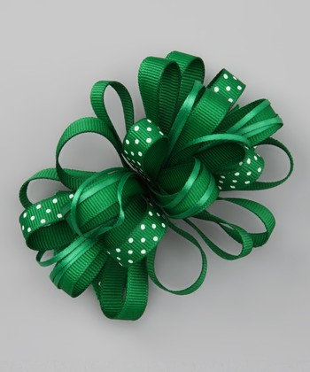 Dark Emerald Green Polka Dot Loopy Bow
