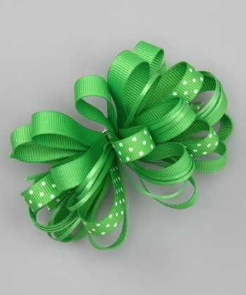 Green Polka Dot Loopy Bow