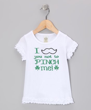 White 'I Mustache You' Tee - Infant, Toddler & Girls