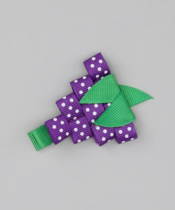 Purple Polka Dot Grape Clip