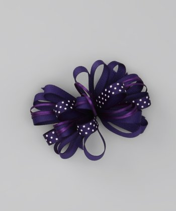 Purple & Black Polka Dot Loopy Clip