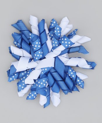 Royal & White Polka Dot Korker Clip