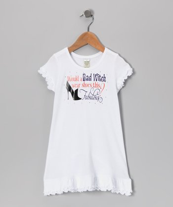 White 'Would a Bad Witch Wear' Dress - Toddler
