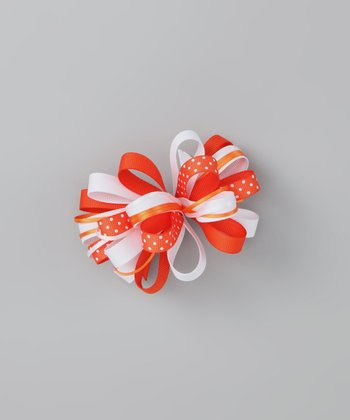 Orange Polka Dot Bow Clip