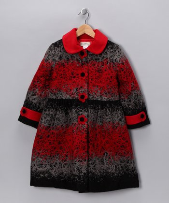 Red Spilled Yarn Coat - Girls