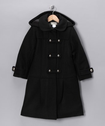 Black Peter Pan Collar Wool-Blend Coat - Toddler & Girls