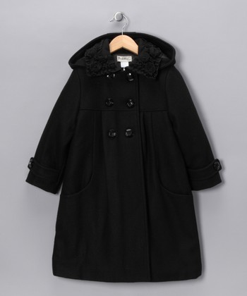 Black Rosette Collar Wool-Blend Coat - Girls