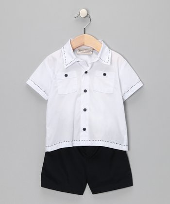 White Button-Up & Navy Shorts - Infant