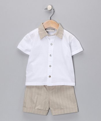 Khaki Pinstripe Button-Up Shirt & Shorts - Infant