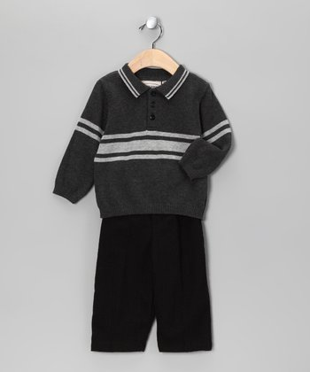 Charcoal Stripe Sweater & Pants - Boys