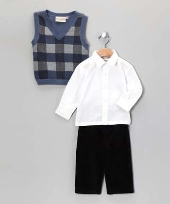 Deep Blue Plaid Sweater Vest Set - Infant & Boys