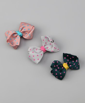 Bows and Barrettes Dusty Colors Polka Dot Clip Set