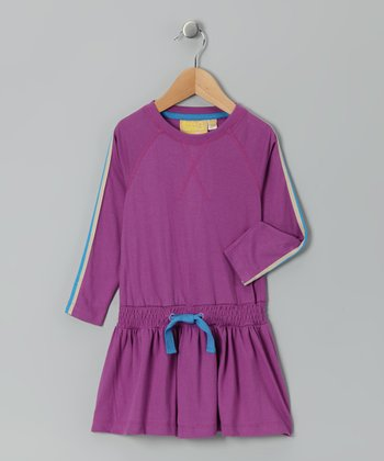 Purple Stripe Organic Drop-Waist Dress - Infant, Toddler & Girls