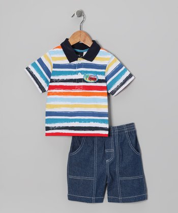 Red & Blue Stripe Polo & Shorts - Infant & Toddler