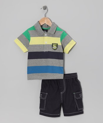 Blue & Gray Stripe Polo & Shorts - Infant & Toddler
