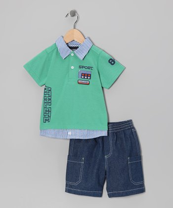 Green Stripe Polo & Shorts - Infant & Toddler