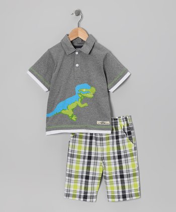 Gray Dinosaur Polo & Shorts - Infant