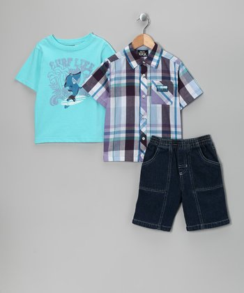 Blue 'Surf Life' Shorts Set - Infant & Toddler