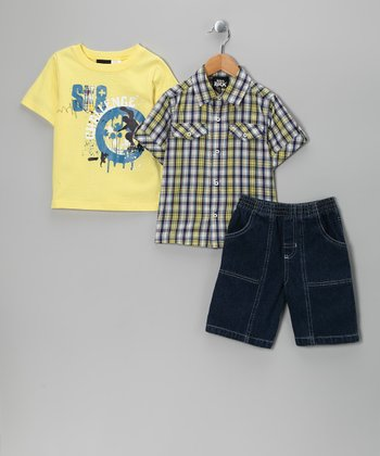 Yellow 'Sk8' Shorts Set - Infant & Toddler