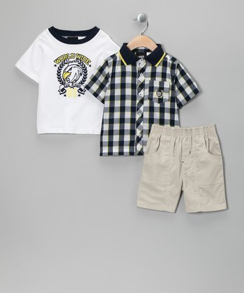 White 'Worldwide' Shorts Set - Infant & Toddler