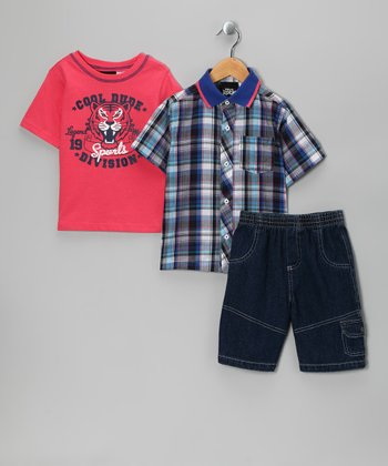 Red 'Cool Dude' Shorts Set - Infant & Toddler