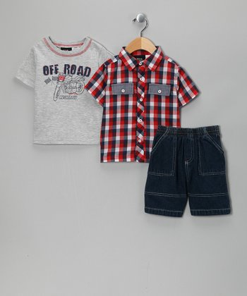 Heather Gray 'Off Road' Shorts Set - Infant & Toddler