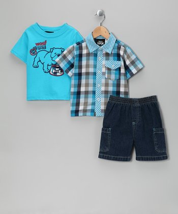 Blue 'Bulldog' Shorts Set - Infant & Toddler