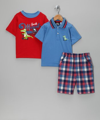 Red & Blue 'Alligator Mascot' Shorts Set - Toddler