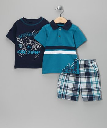 Turquoise & Navy 'Rock Legend' Shorts Set - Infant & Toddler