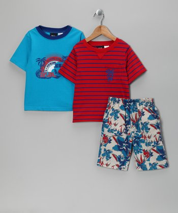 Red & Blue 'Tropical' Shorts Set - Toddler
