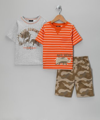 Orange & Gray 'Safari' Shorts Set - Infant & Toddler