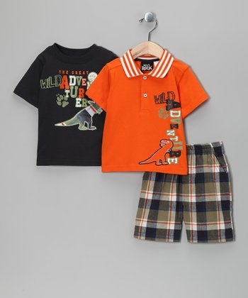 Orange & Navy 'Wild Adventurer' Shorts Set - Infant & Toddler