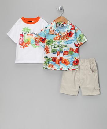 White 'Pacific Island' Shorts Set - Toddler
