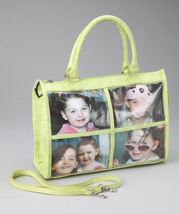 Lime Croc Four-Window Tote