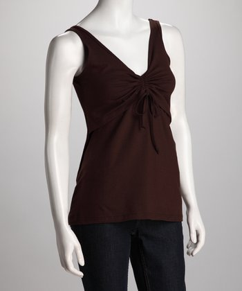 Chocolate Tie-Front Nursing Tank